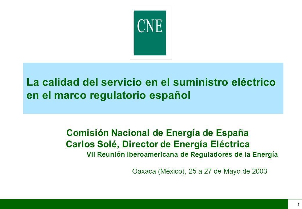 La calidad del servicio en el suministro eléctrico en el marco regulatorio español