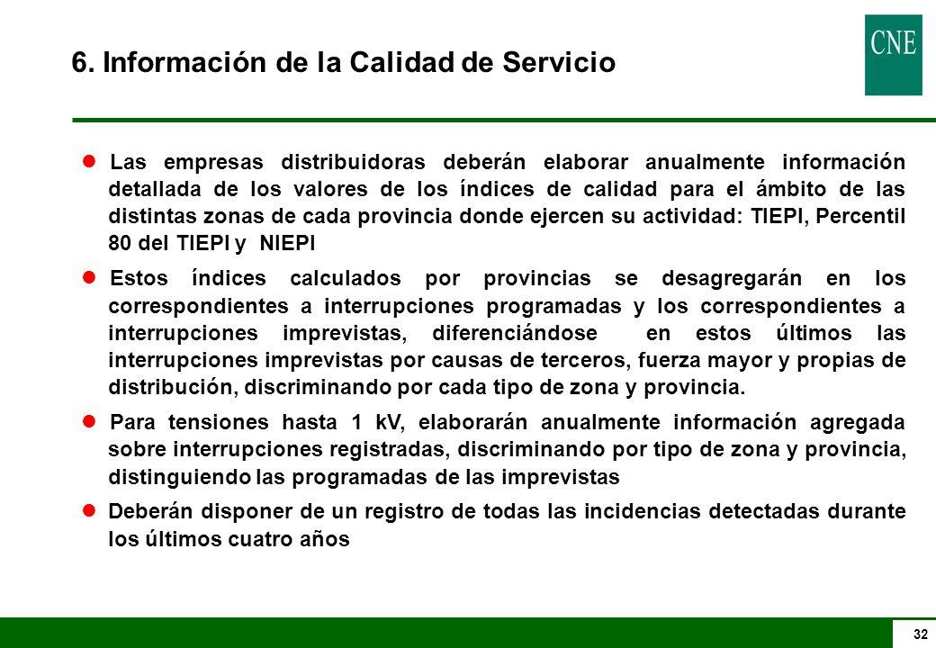 6. Información de la Calidad de Servicio