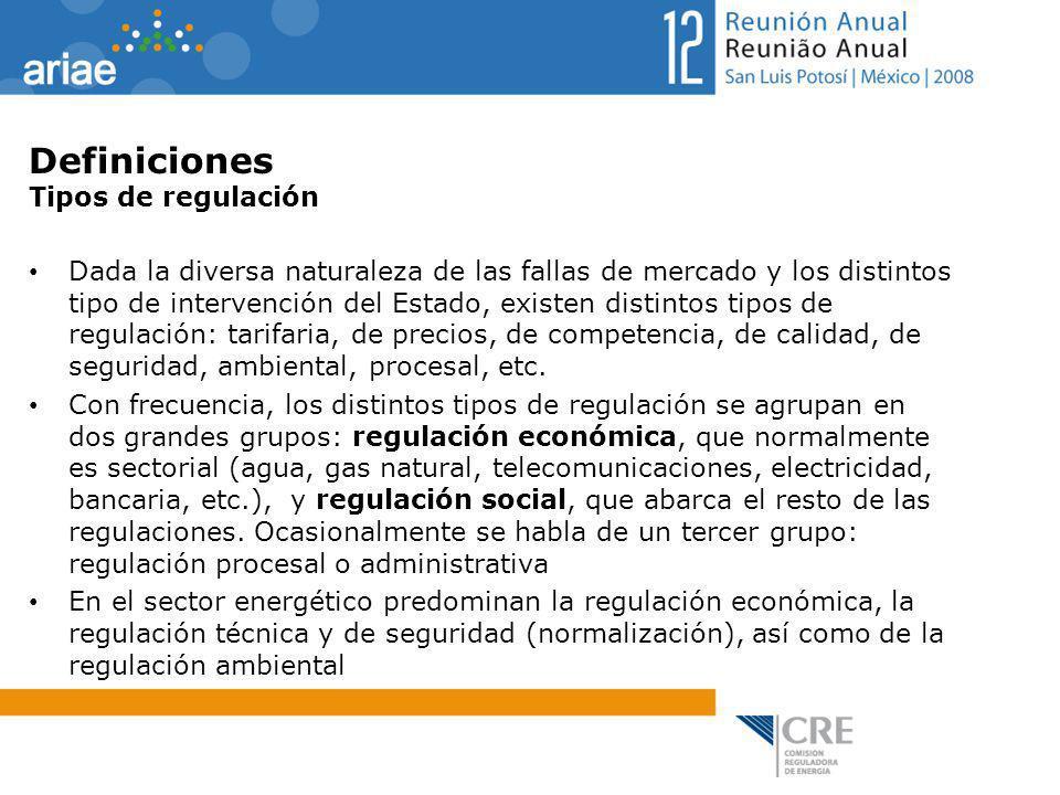 Definiciones Tipos de regulación