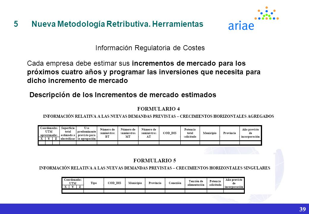 Información Regulatoria de Costes