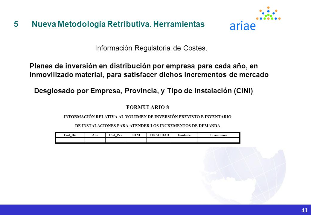 Información Regulatoria de Costes.
