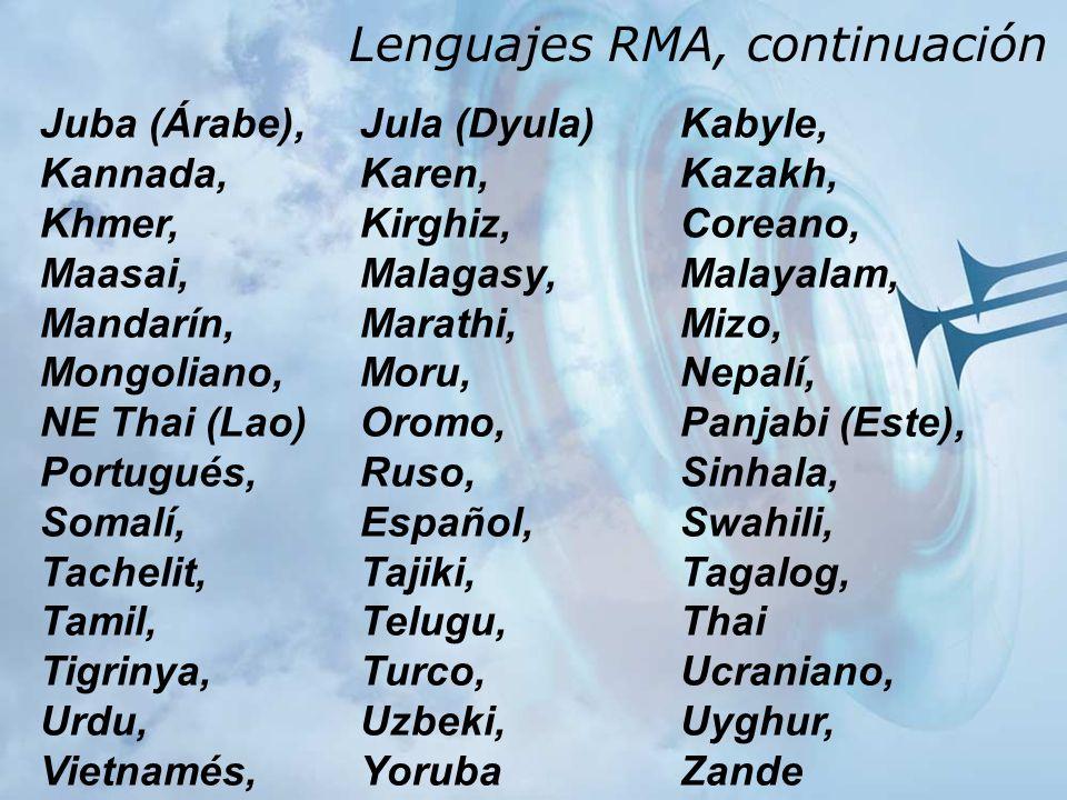Lenguajes RMA, continuación