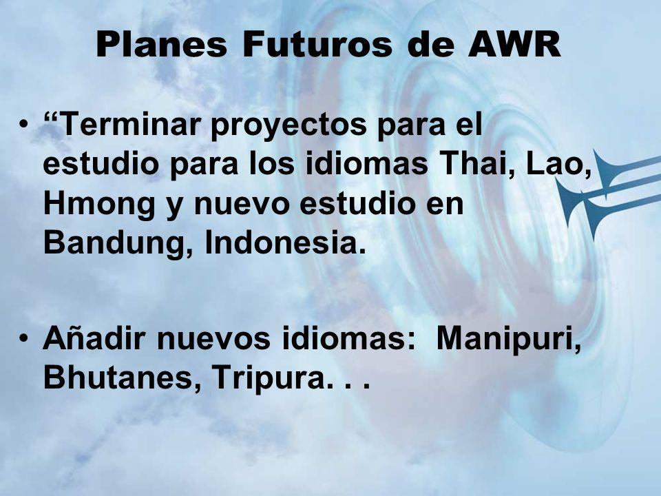 Planes Futuros de AWR Terminar proyectos para el estudio para los idiomas Thai, Lao, Hmong y nuevo estudio en Bandung, Indonesia.