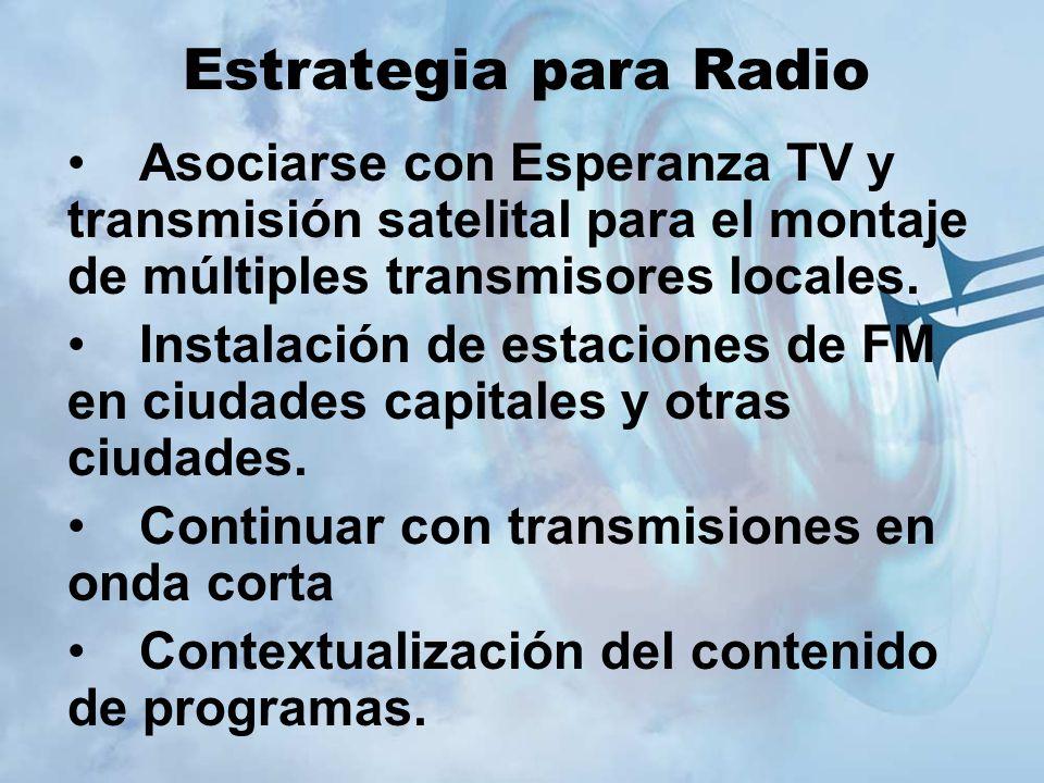 Estrategia para Radio Asociarse con Esperanza TV y transmisión satelital para el montaje de múltiples transmisores locales.