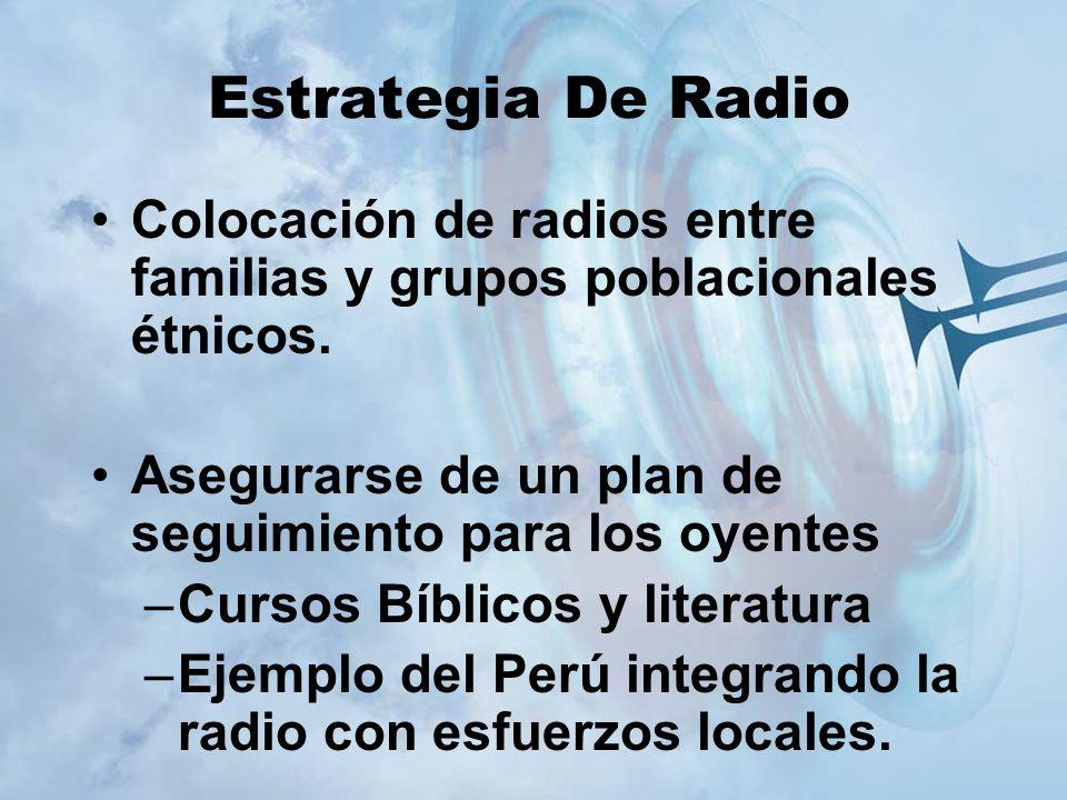 Estrategia De Radio Colocación de radios entre familias y grupos poblacionales étnicos. Asegurarse de un plan de seguimiento para los oyentes.