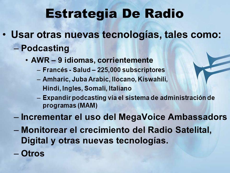 Estrategia De Radio Usar otras nuevas tecnologías, tales como: