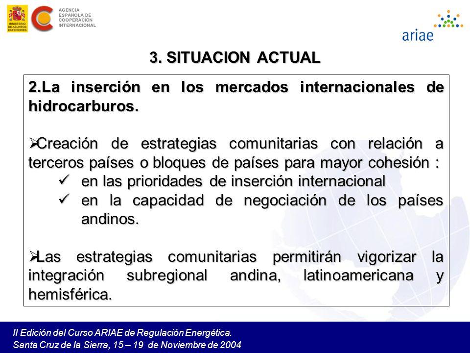 La inserción en los mercados internacionales de hidrocarburos.