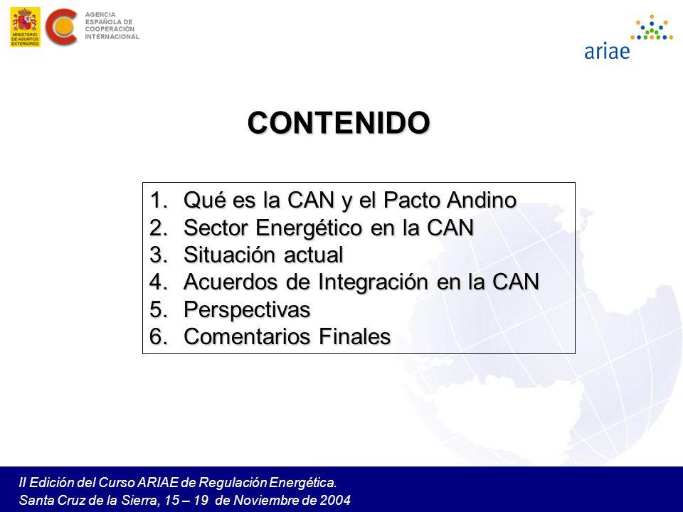 CONTENIDO Qué es la CAN y el Pacto Andino Sector Energético en la CAN