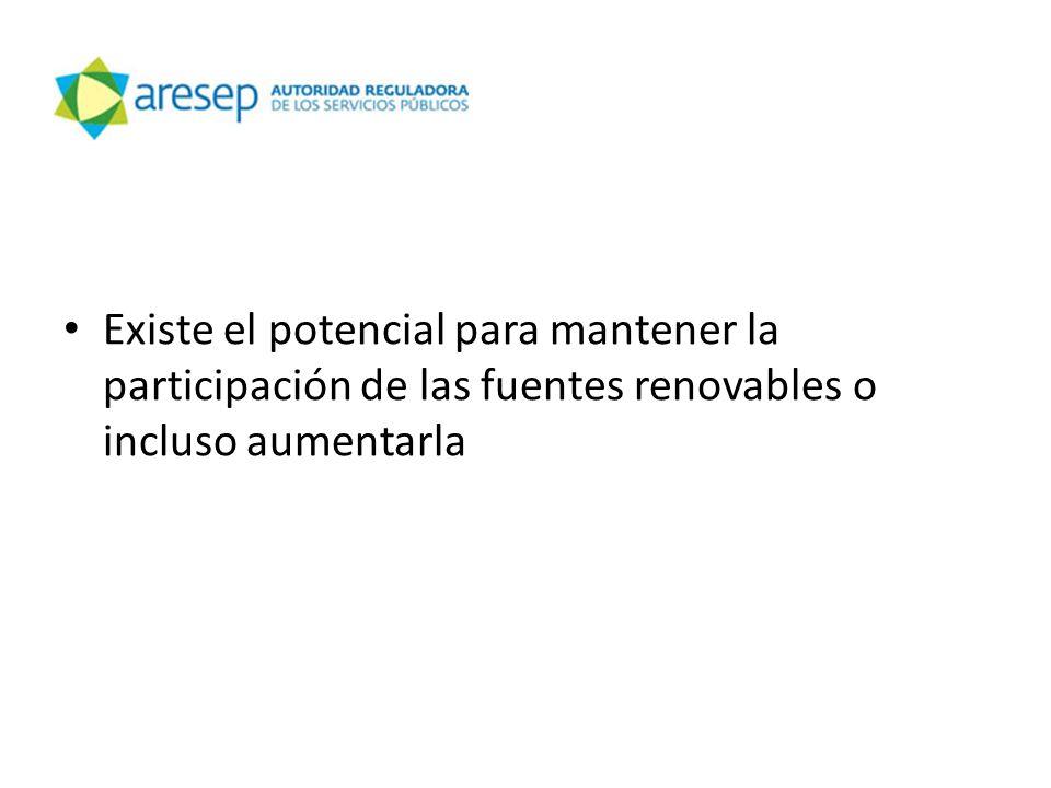 Existe el potencial para mantener la participación de las fuentes renovables o incluso aumentarla