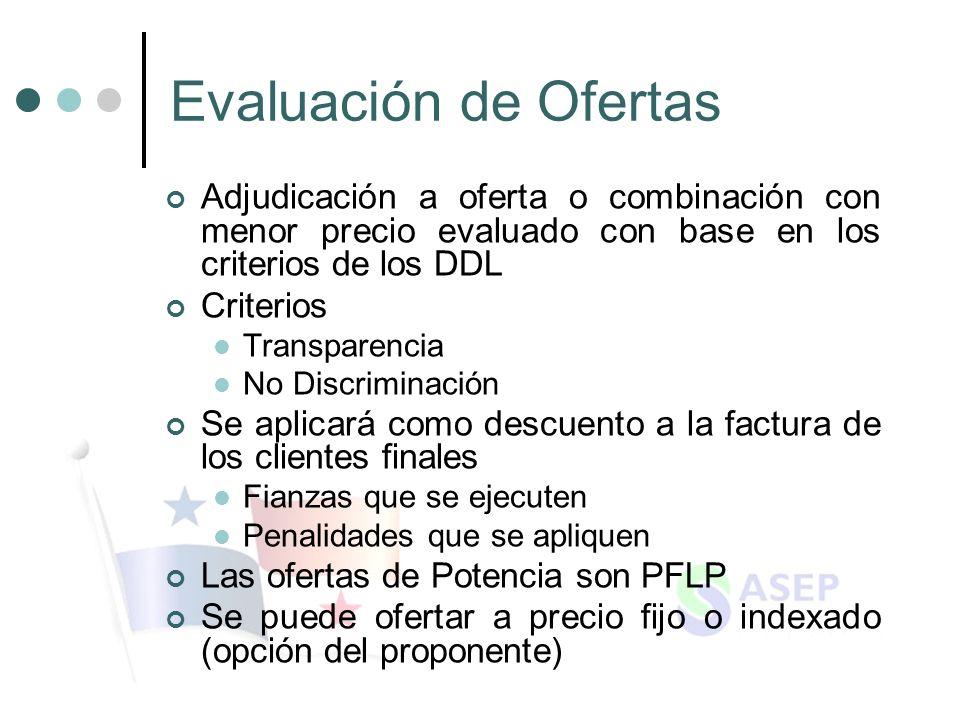 Evaluación de Ofertas Adjudicación a oferta o combinación con menor precio evaluado con base en los criterios de los DDL.