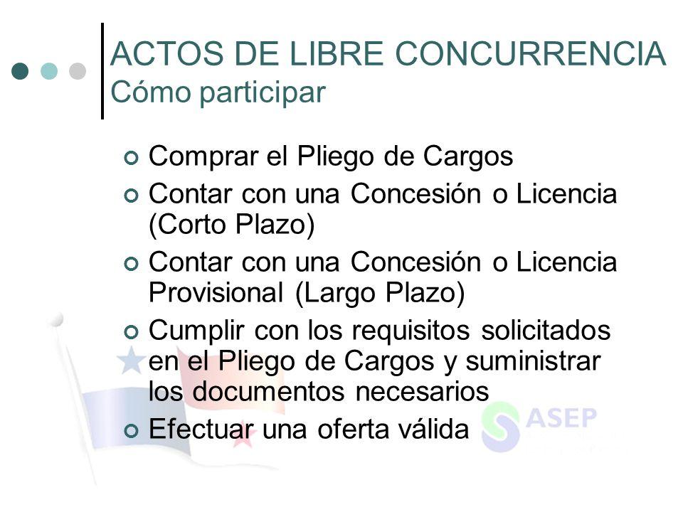 ACTOS DE LIBRE CONCURRENCIA Cómo participar
