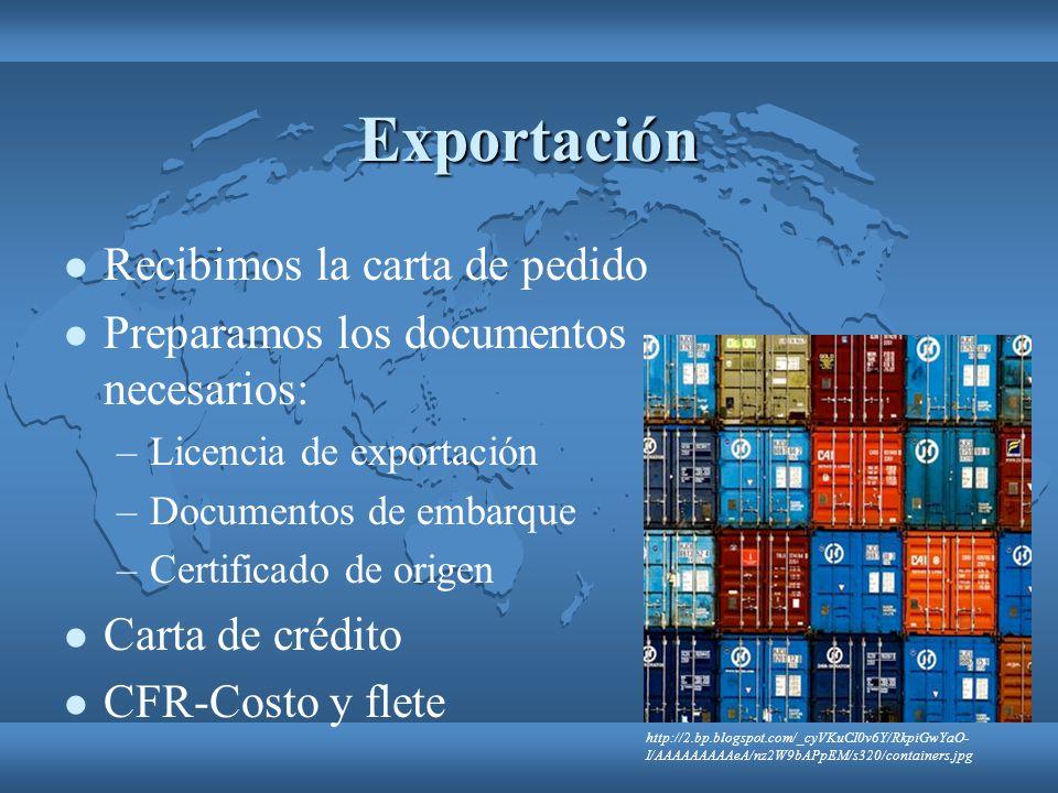 Exportación Recibimos la carta de pedido