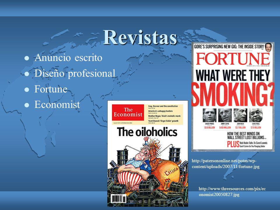 Revistas Anuncio escrito Diseño profesional Fortune Economist