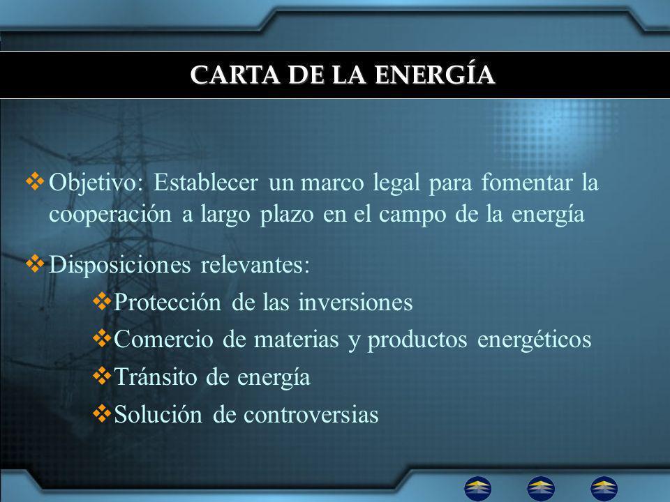 CARTA DE LA ENERGÍA Objetivo: Establecer un marco legal para fomentar la cooperación a largo plazo en el campo de la energía.