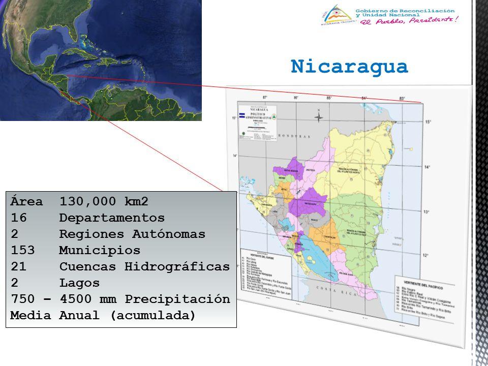 Nicaragua Área 130,000 km2 16 Departamentos 2 Regiones Autónomas