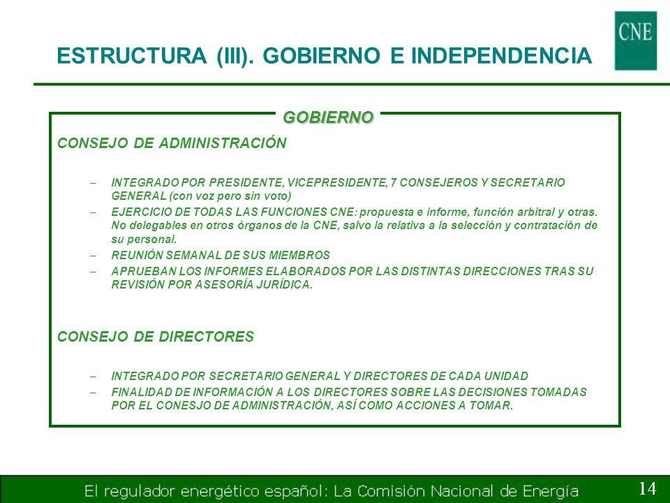 ESTRUCTURA (III). GOBIERNO E INDEPENDENCIA