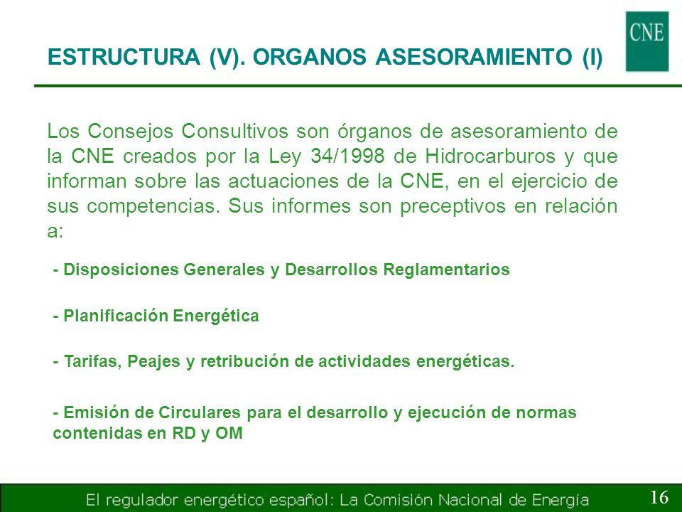 ESTRUCTURA (V). ORGANOS ASESORAMIENTO (I)