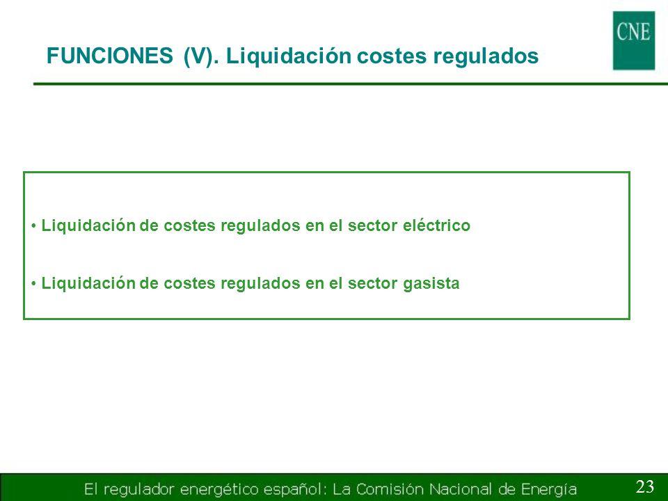 FUNCIONES (V). Liquidación costes regulados