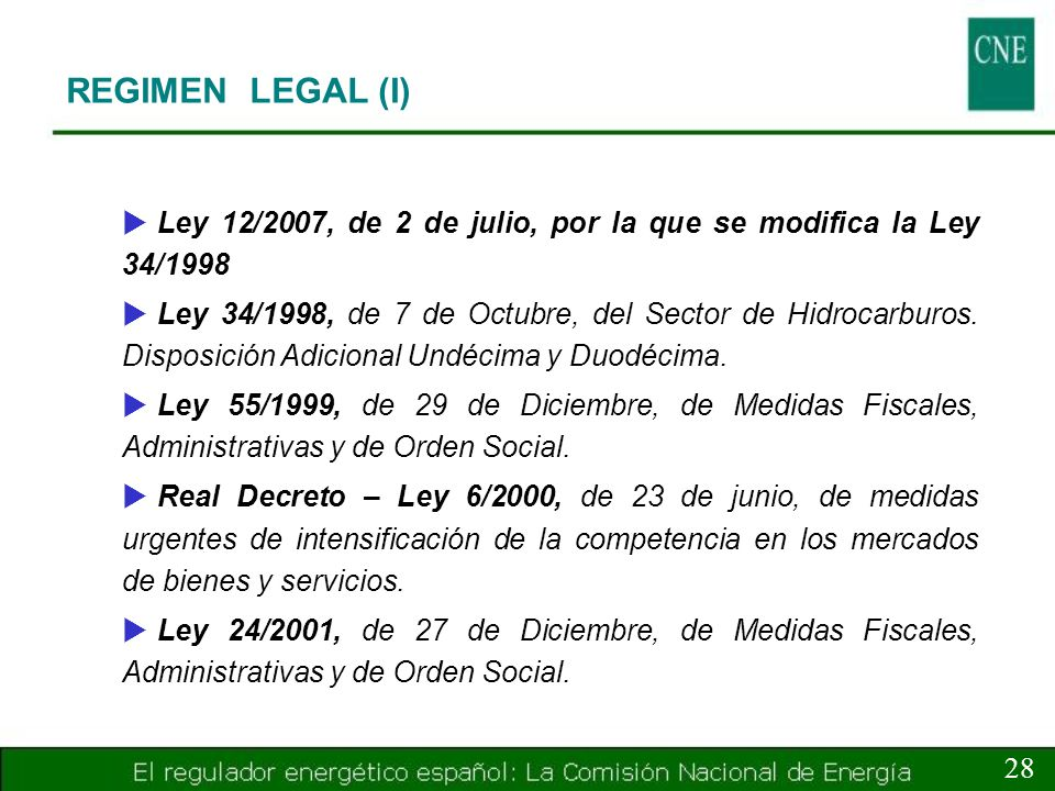 REGIMEN LEGAL (I) Ley 12/2007, de 2 de julio, por la que se modifica la Ley 34/1998.