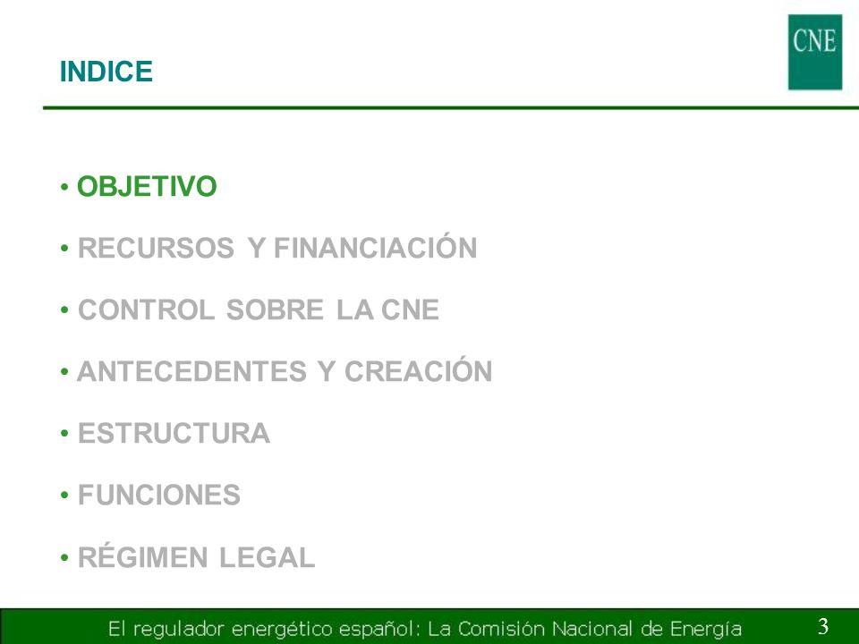 RECURSOS Y FINANCIACIÓN CONTROL SOBRE LA CNE ANTECEDENTES Y CREACIÓN
