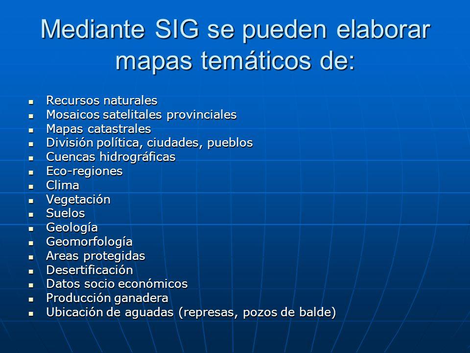 Mediante SIG se pueden elaborar mapas temáticos de: