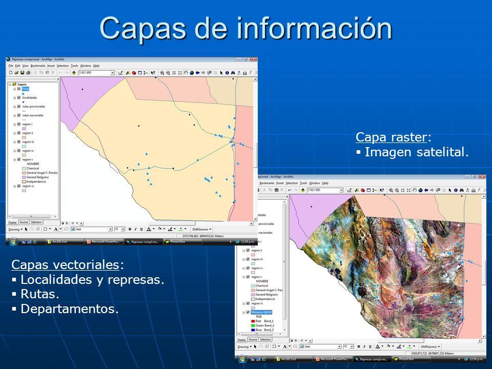 Capas de información Capa raster: Imagen satelital. Capas vectoriales: