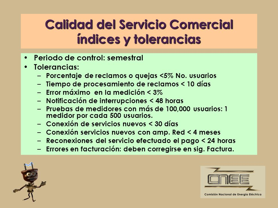 Calidad del Servicio Comercial índices y tolerancias