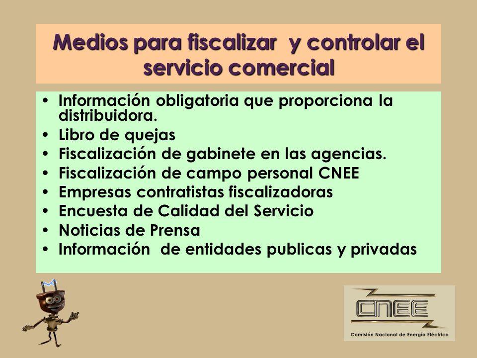 Medios para fiscalizar y controlar el servicio comercial