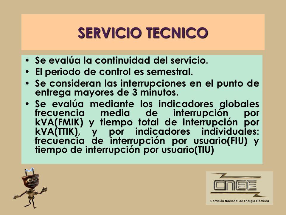 SERVICIO TECNICO Se evalúa la continuidad del servicio.