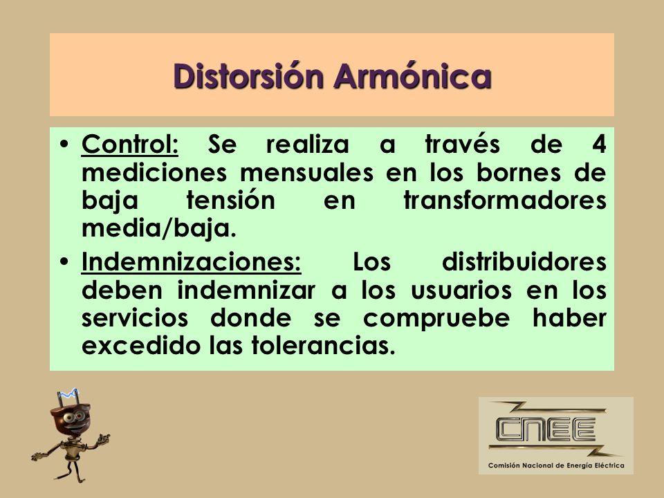 Distorsión ArmónicaControl: Se realiza a través de 4 mediciones mensuales en los bornes de baja tensión en transformadores media/baja.