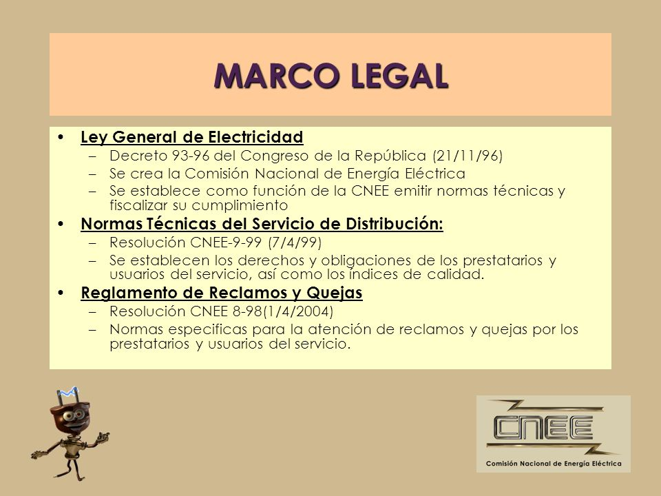 MARCO LEGAL Ley General de Electricidad