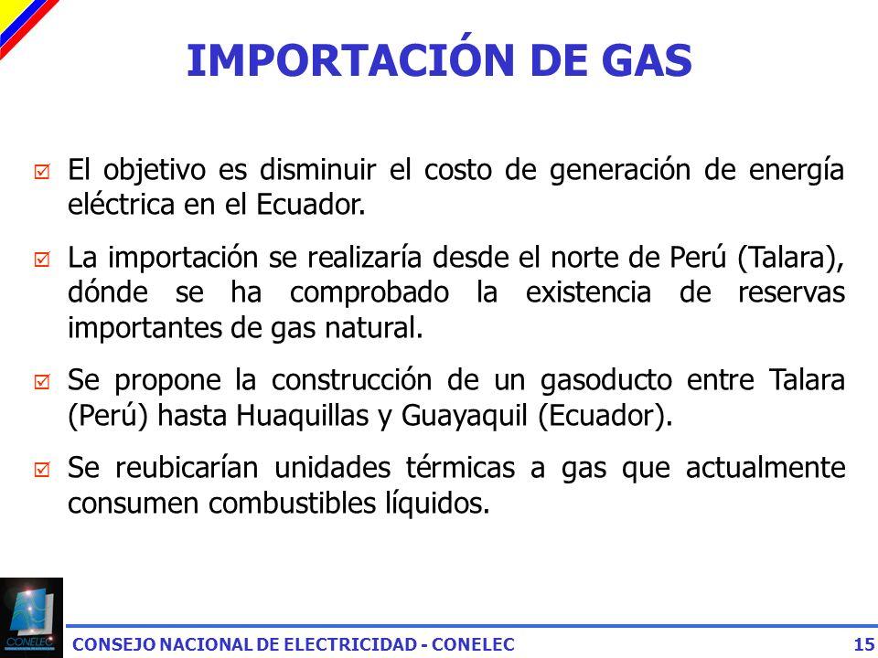IMPORTACIÓN DE GAS El objetivo es disminuir el costo de generación de energía eléctrica en el Ecuador.