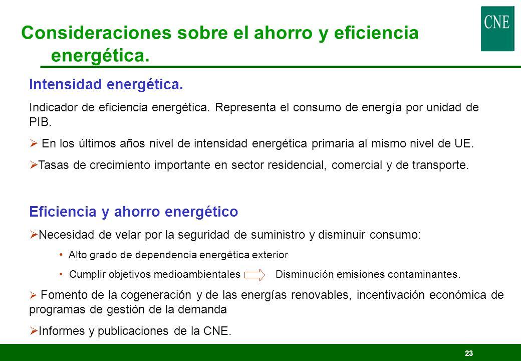 Consideraciones sobre el ahorro y eficiencia energética.