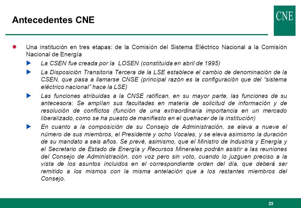 Antecedentes CNE Una institución en tres etapas: de la Comisión del Sistema Eléctrico Nacional a la Comisión Nacional de Energía.