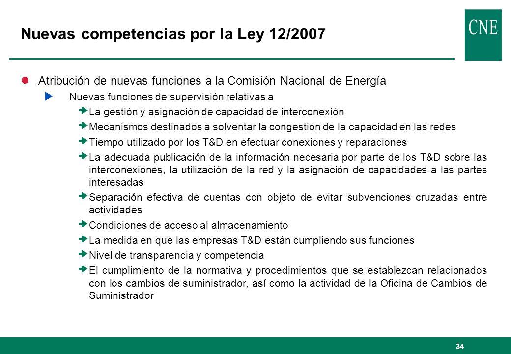 Nuevas competencias por la Ley 12/2007