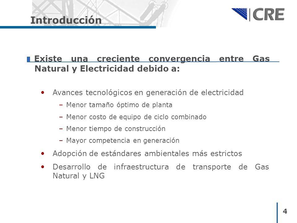 Introducción Existe una creciente convergencia entre Gas Natural y Electricidad debido a: Avances tecnológicos en generación de electricidad.