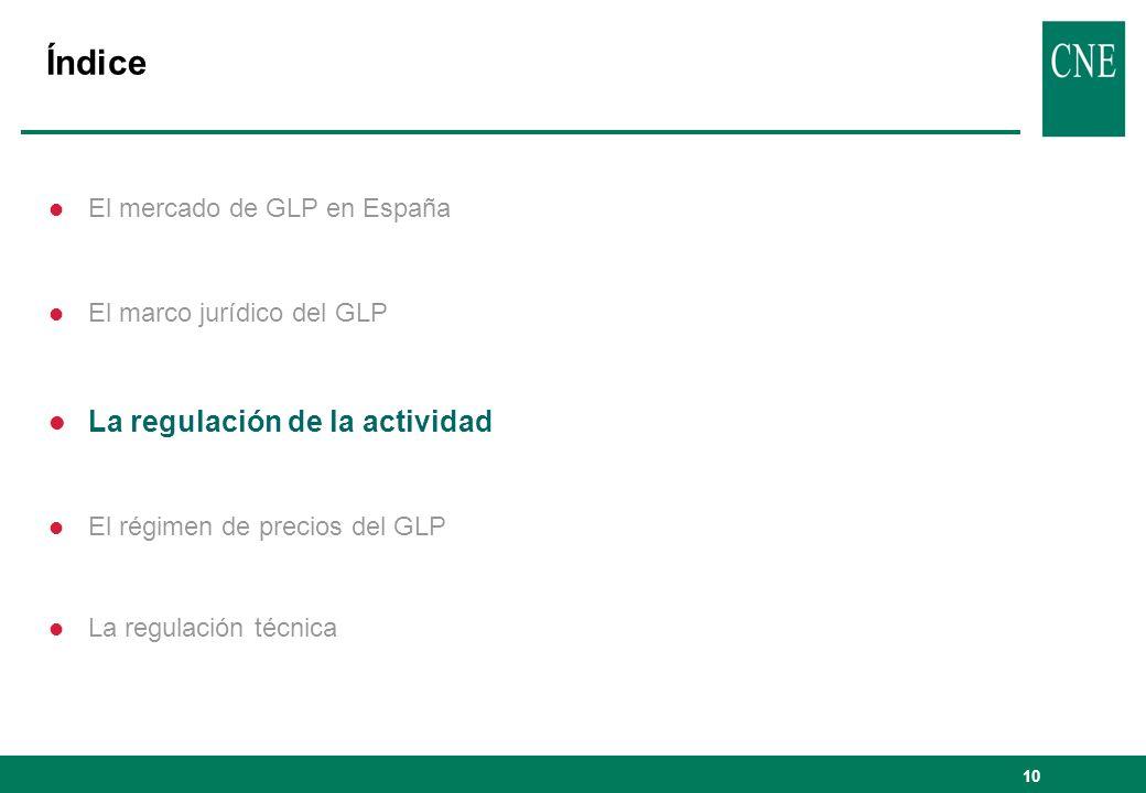 Índice La regulación de la actividad El mercado de GLP en España