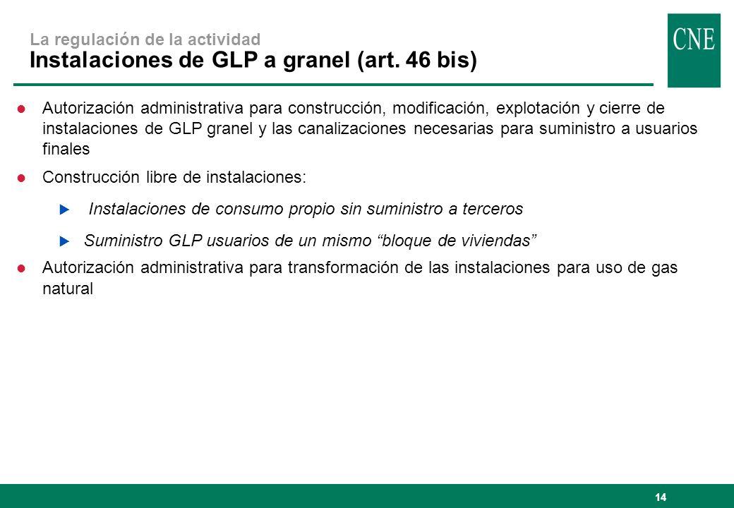 La regulación de la actividad Instalaciones de GLP a granel (art
