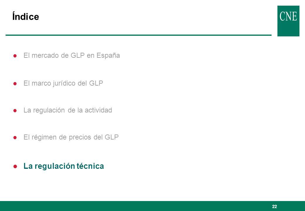 Índice La regulación técnica El mercado de GLP en España