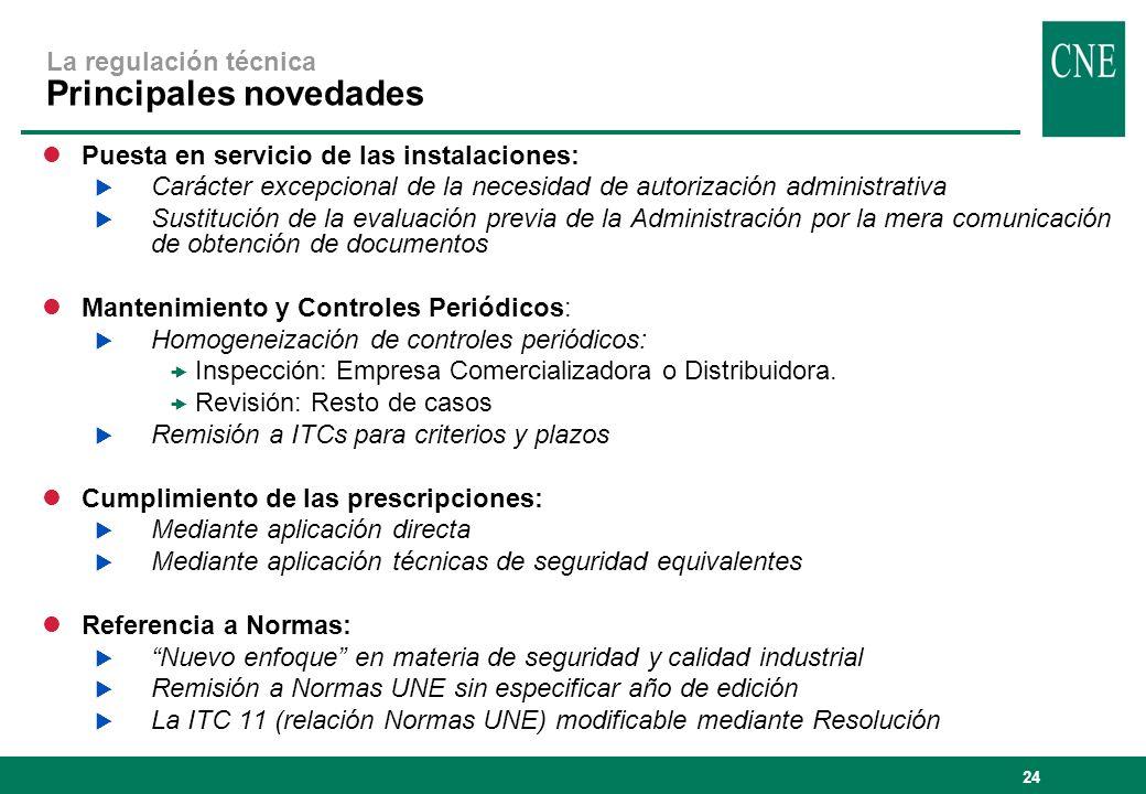 La regulación técnica Principales novedades