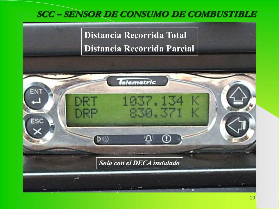 SCC – SENSOR DE CONSUMO DE COMBUSTIBLE Solo con el DECA instalado