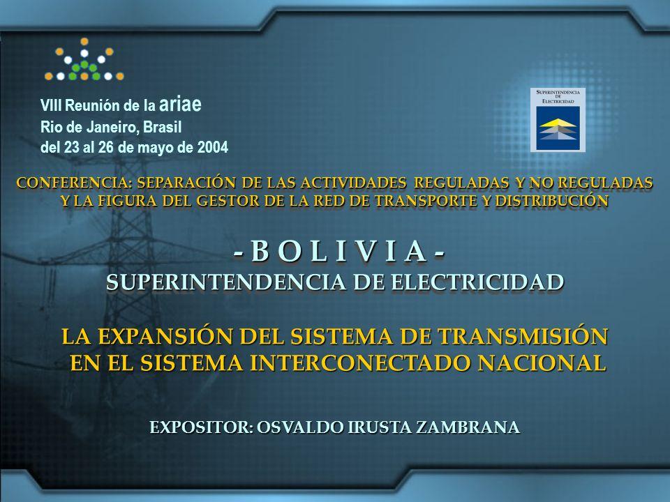 - B O L I V I A - SUPERINTENDENCIA DE ELECTRICIDAD