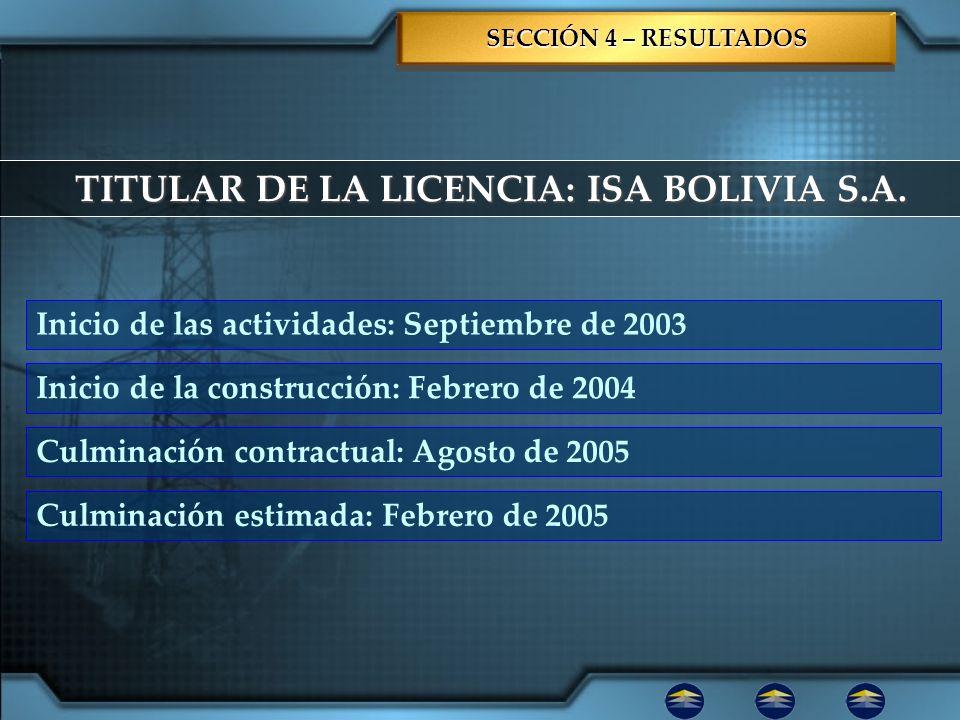 TITULAR DE LA LICENCIA: ISA BOLIVIA S.A.