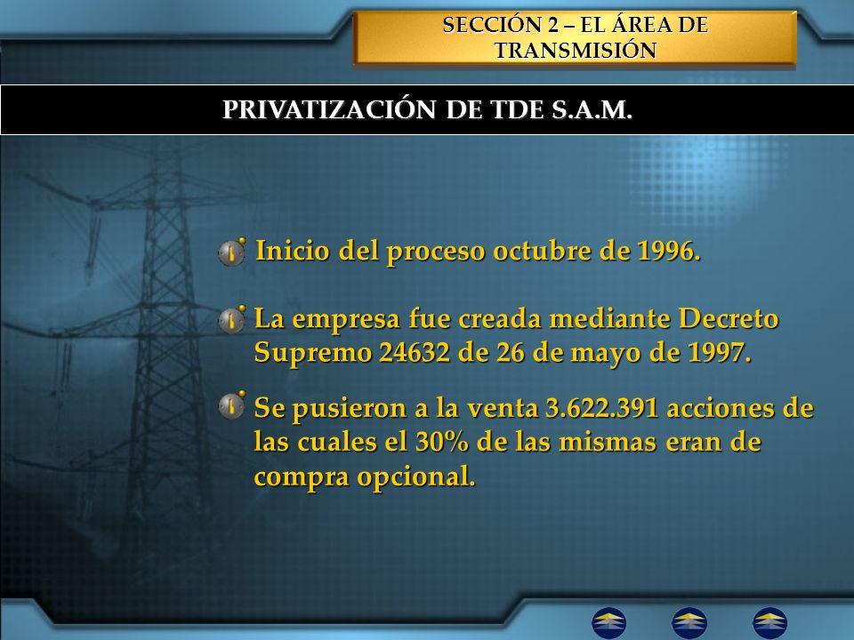 SECCIÓN 2 – EL ÁREA DE TRANSMISIÓN PRIVATIZACIÓN DE TDE S.A.M.
