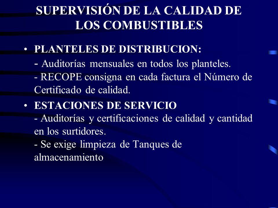 SUPERVISIÓN DE LA CALIDAD DE LOS COMBUSTIBLES