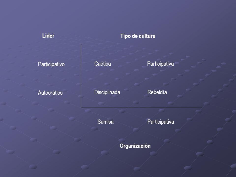 Líder Tipo de cultura. Participativo. Autocrático. Caótica Participativa.