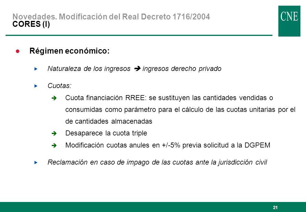 Novedades. Modificación del Real Decreto 1716/2004 CORES (I)