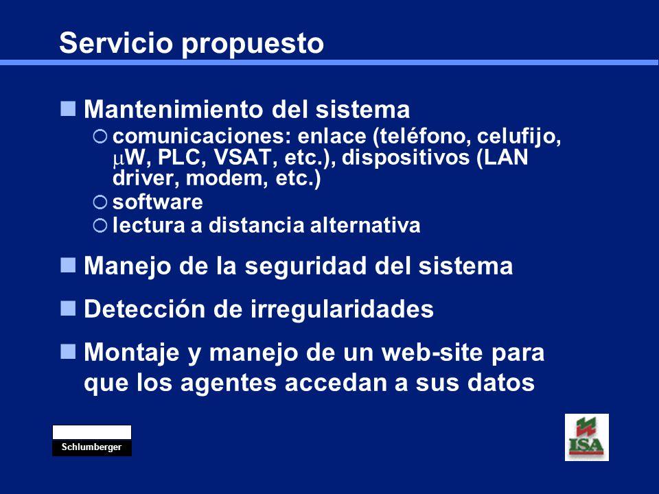 Servicio propuesto Mantenimiento del sistema