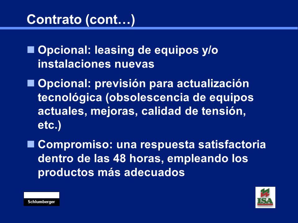 Contrato (cont…) Opcional: leasing de equipos y/o instalaciones nuevas