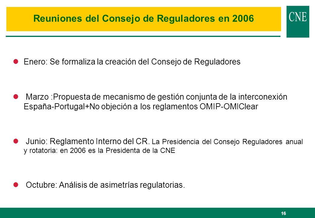 Reuniones del Consejo de Reguladores en 2006